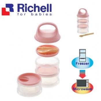 Hộp đồ ăn 3 tầng kèm thìa Richell RC98165