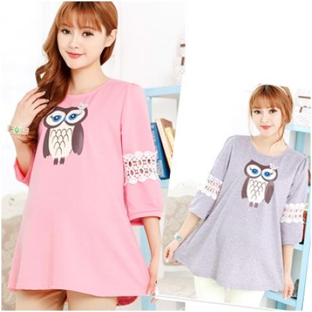 Áo cotton bầu họa tiết cú mèo XD 0019