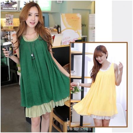 Váy bầu vải đũi thời trang XD8018