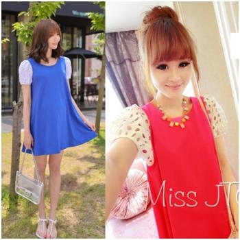Váy bầu dáng suông phối tay ren JJ 141