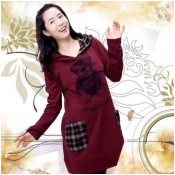 Áo cotton bầu thời trang kết hợp cho con bú  HC8752-1