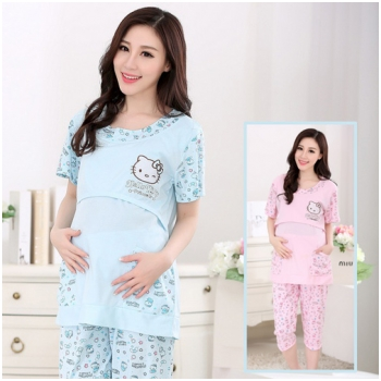 Bộ quần áo bầu kết hợp cho con bú Hello Kitty MB6604