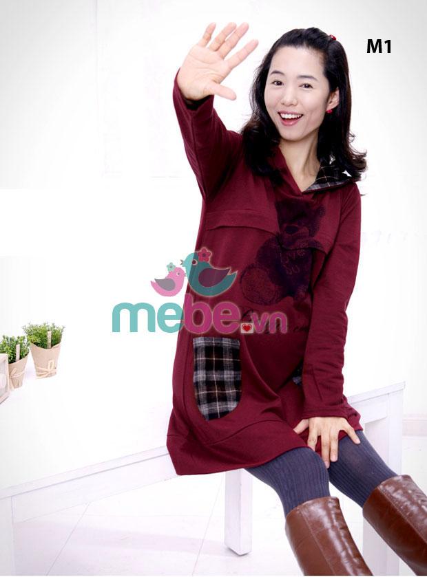 Áo cotton bầu thời trang kết hợp cho con bú HC 8752-1